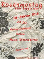 Einladung zum Rosenmontag beim Sepp'n Wirt
